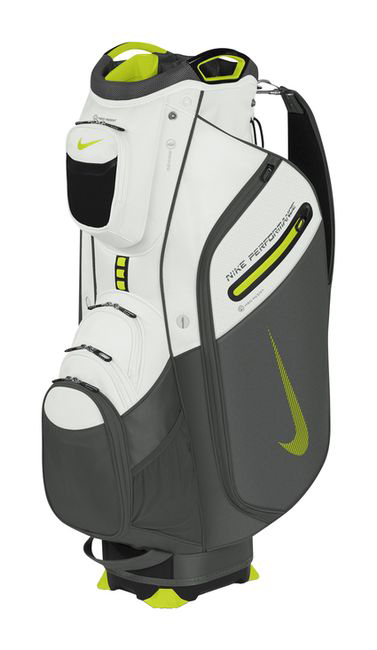 "Nike Performance Cart II, $199; nikegolf.com                     Amenities include 19 pockets (13 external and six internal), highlighted by the Nike ""Flip & Grip"" water-resistant pocket, which easily straps on to a trolley or cart to provide a convenient additional pocket for valuables or a range finder."