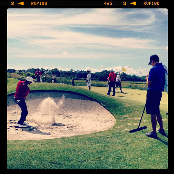 Aaron Baddeley also worked on his sand shots.