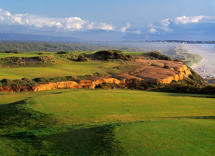 18. Bandon Dunes, Bandon, Ore., No. 16, par-4: Architect David McLay Kidd shaped the diagonal ridge in the field -- it wasn't in the plans -- and created an astounding, option-laden test. A safe play to the lower fairway on the right leaves a semi-blind approach. The tougher tee shot to the upper left landing area leaves an easier approach. No matter which you choose, the Pacific Ocean will gobble up a wild slice.