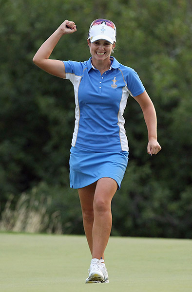 Beatriz Recari of Spain celebrates after defeating Angela Stanford of the United States Team 2&1 on the 17th hole during the final day singles matches of the 2013 Solheim Cup on August 18, 2013 at the Colorado Golf Club.