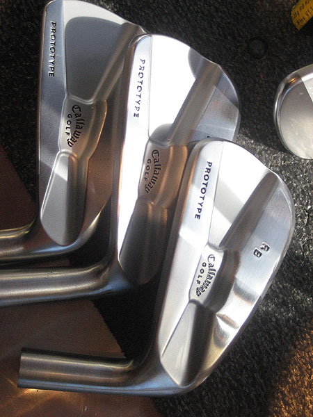 Callaway prototype irons made for Rich Beem. Each club has been stamped with his initials.