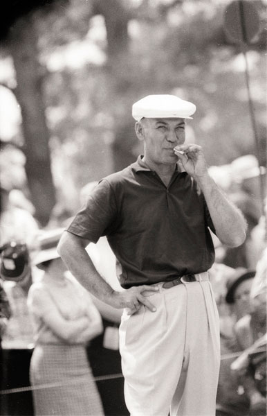 "Ben Hogan                                               Hogan, too, was self-absorbed. (Of course that self-absorption is part of what made these guys great in the first place. Discuss among yourselves.) The famously intimidating ""Hawk"" didn't do jolly, grip-and-grin golf, and he didn't apologize for it. He dug his game ""out of the ground,"" could freeze an opponent's blood with his icy stare, and bristled at the winning panache of Arnold Palmer. The latter attribute may have sealed Hogan's fate as an unlovable champion, because really, how could you not like Palmer? Only Santa Claus has more fans. Hogan did soften, however, and became more popular with fans after his remarkable recovery from a cataclysmic 1949 car crash."