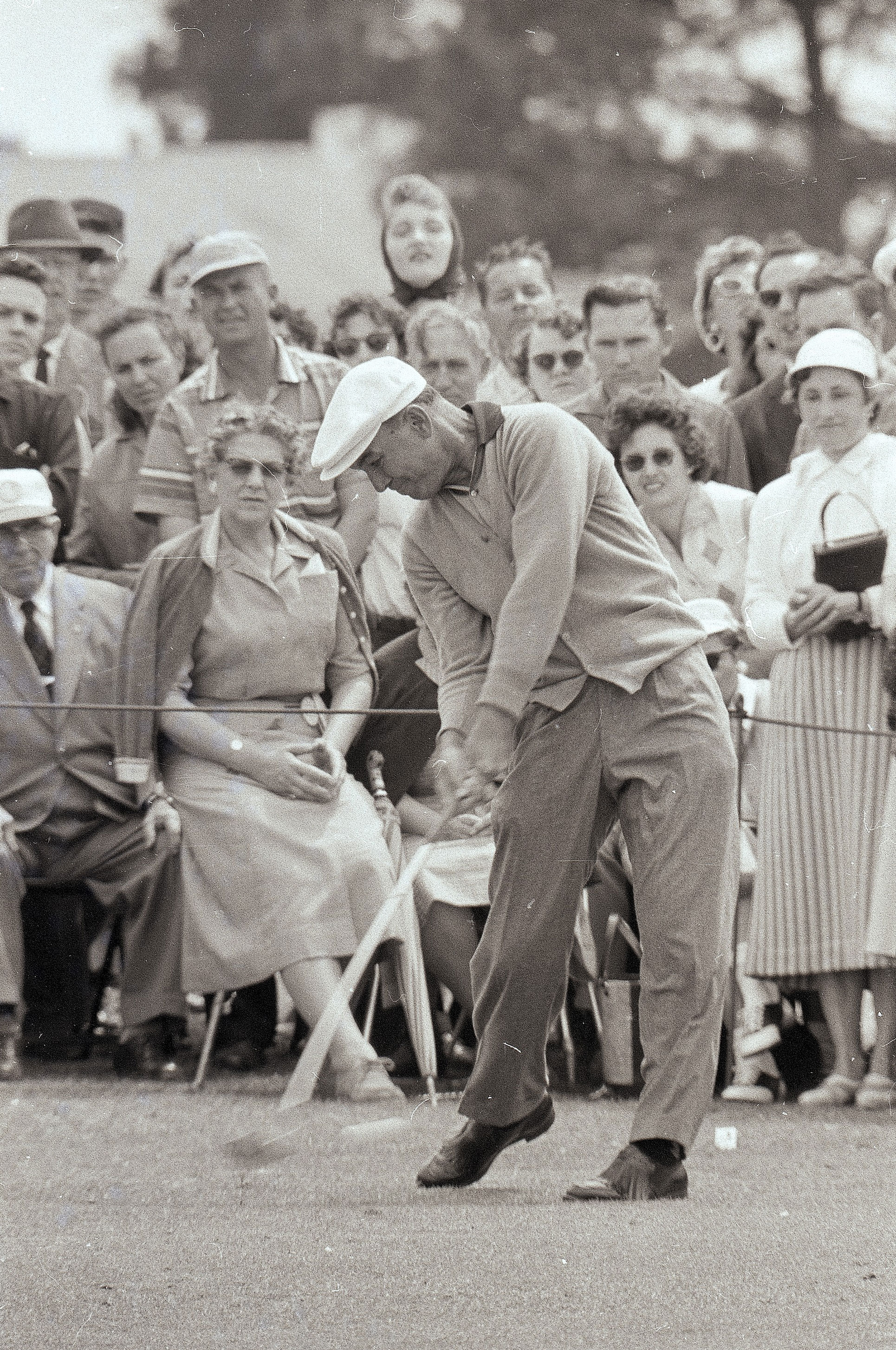 "Ben Hogan drives the ball during the 1957 Masters. Top 100 Teacher Bill Moretti on Hogan: ""He was a shotmaker with his driver. He would fade or hook it on based on the best percentage side of the fairway."""