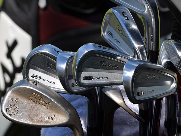 Bill Haas uses Titleist's 710 Forged CB irons and a Vokey Design Spin Milled lob wedge with a special E grind.