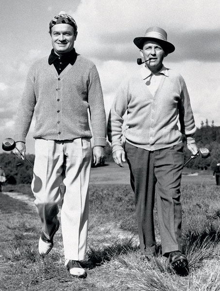 Pictured here with Bob Hope in 1952, Bing Crosby was an avid golfer throughout his life. He started the Bing Crosby Pro-Amateur, better known as the Crosby Clambake, which has evolved into the AT&T Pebble Beach National Pro-Am.