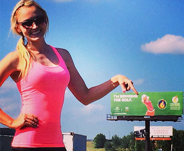 "@blaironealgolf ""I'm Bringing The Golf"" Made it to Kansas for this weeks @road2lpga at @firekeepergolf @prairieband  Came across this #Billboard on the way to the course!"