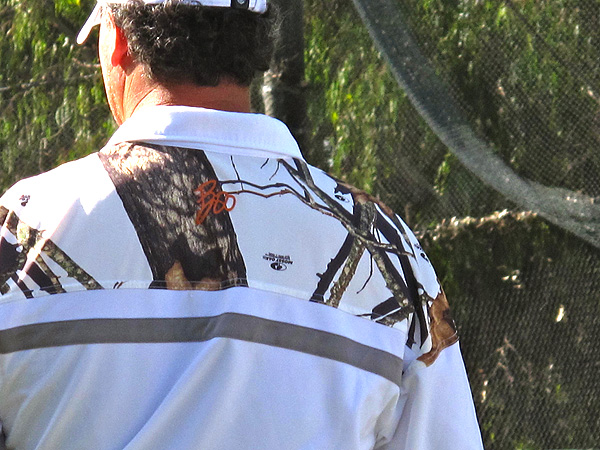 Boo Weekley wasn't tough for fans and other players to spot on the range, despite his camouflage golf shirt.