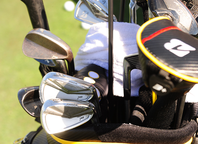 Brandt Snedeker's Bridgestone J40 irons show a little wear and tear.