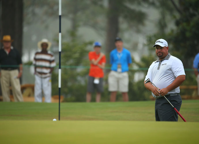 "Brendon De Jonge followed his first round 68 with a 70 in the second round. He was among the group at -2, eight shots off the lead. ""I like the way the golf course looks. I think it's great,"" he said. ""I like the style of golf here. I played a couple weeks down at Royal Melbourne at the end of last year and I loved the way that looked, and I think this has a sort of similar vibe to it. I think it's absolutely great."""