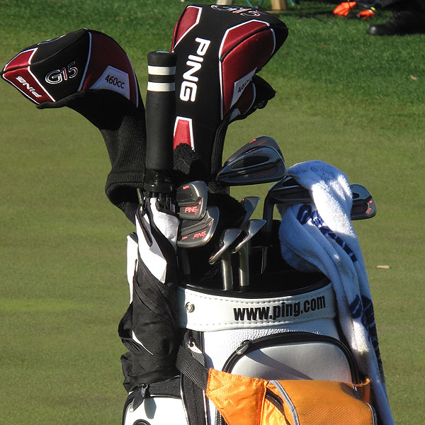 Bubba Watson is hoping to become the first Masters champion to win using pink accented clubs. He plays Ping's S59 irons.