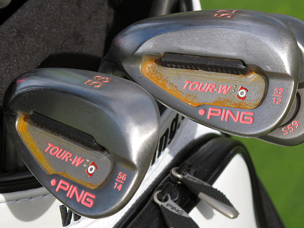 Bubba Watson uses Ping Tour-W wedges that are made from steel that is designed to rust over time. And like his irons, Bubba prefers pink paintfill.