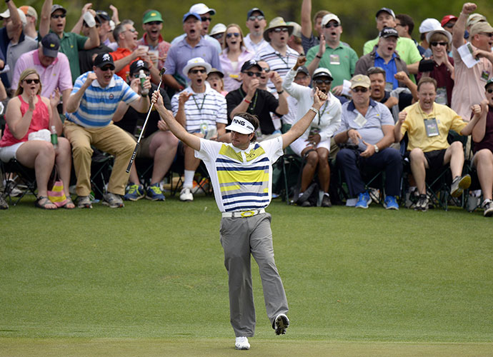 Bubba Watson celebrates his birdie putt on No. 14.