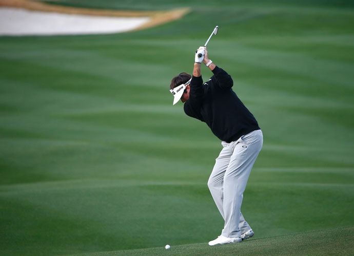 Bubba Watson hits his approach to the second hole. He defeated Mikko Ilonen, 2 and 1, and advanced to face Jonas Blixt.