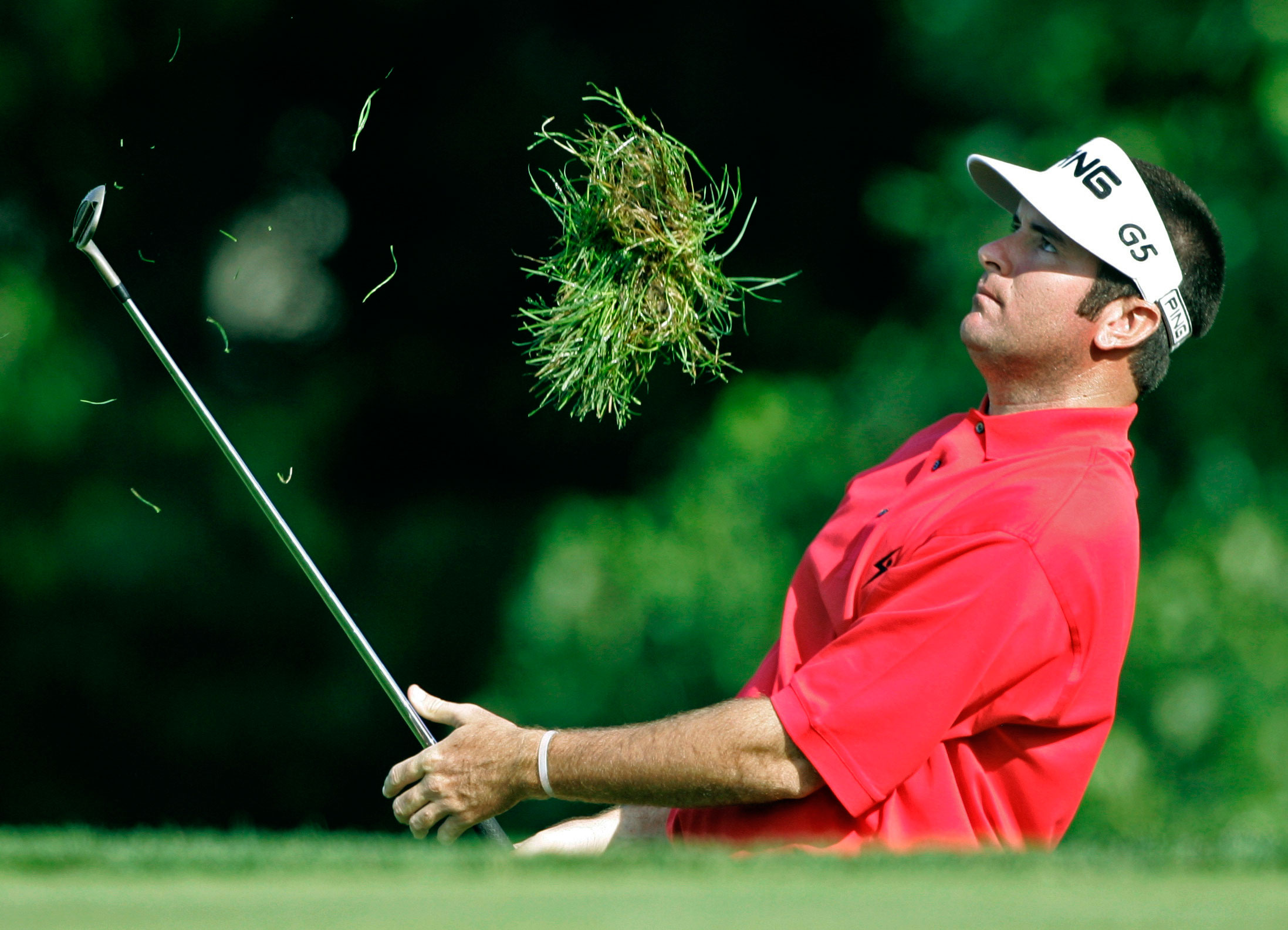 2007 U.S. Open                      Bubba Watson takes a Bubba-sized divot while hitting from the rough at the 2007 U.S. Open. He shot 70-71-74-74 and finished tied for fifth, four shots behind winner Angel Cabrera. It was Bubba's best finish to date in a major.