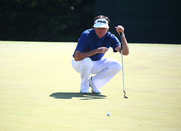 Watson hit clutch putts on 17 and 18 to keep his round from getting out of hand.