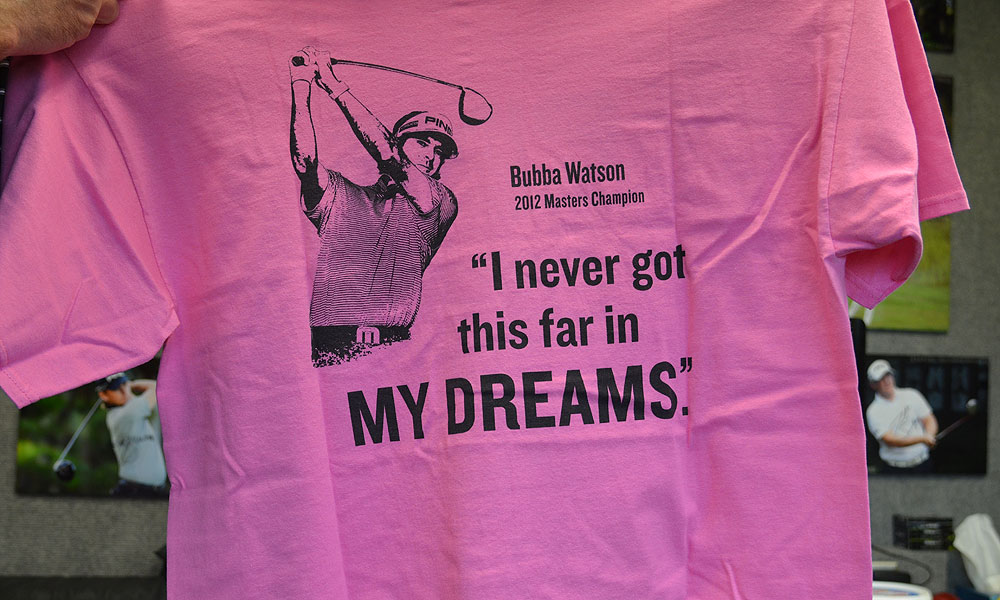 Bubba Watson signed a few of these T-shirts for Ping employees back at the company's headquarters in Phoenix.