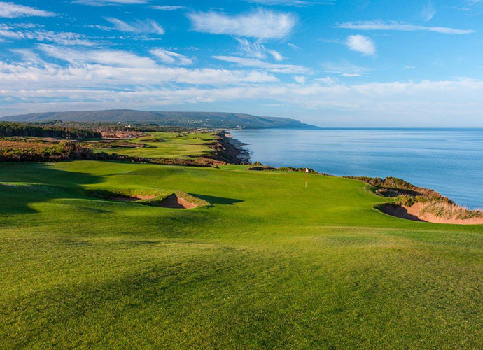 No. 17, par four, 305 yardsThe coastline creates a natural dogleg on this drive-able par-four, which cuts along the bluffs and dares you to try a bold line to a fairway pocked by a principal's nose bunker.