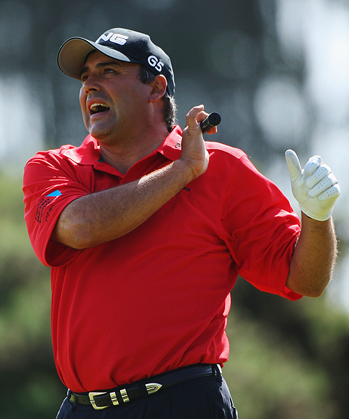 Angel Cabrera, the surprise winner at Oakmont, was not too pleased with this shot during Tuesday's practice round. The Argentine has had mixed results at the British Open: he missed the cut in four of his last six appearances but finished seventh in 2006 at Royal Liverpool.