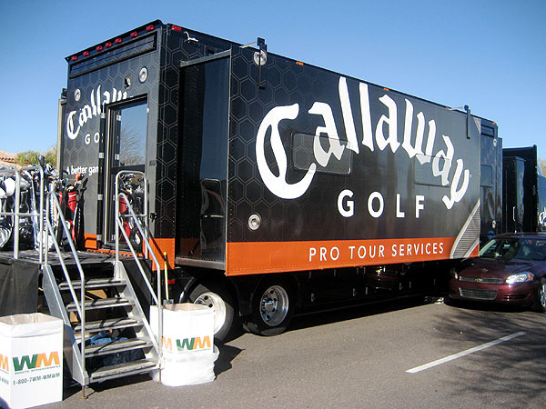 A sneak peak inside the Tour equipment vans                       Manufacturers like Callaway send trucks that are more than 50 feet long and weigh up to 65,000 pounds to PGA Tour events. The trucks are staffed by the manufacturers' club-fitting experts, who work closely with the Tour players. Here's a behind-the-scenes look at the vans at the FBR Open.
