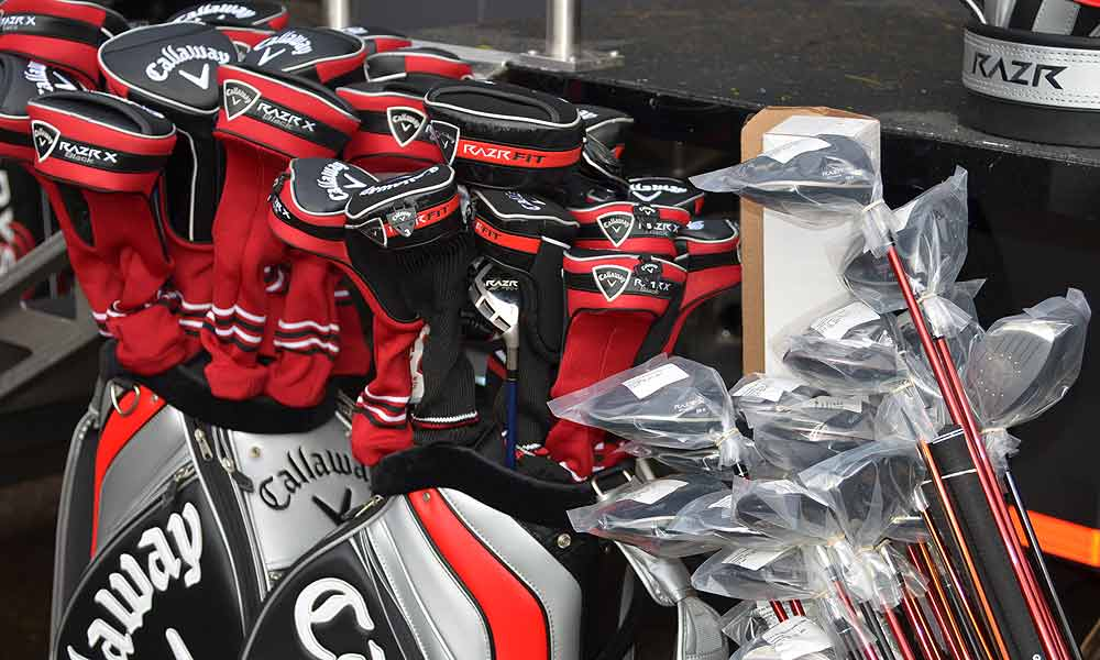 Outside the Callaway truck, bagloads of woods, including RAZR Fit drivers, were stacked and available for players to try.