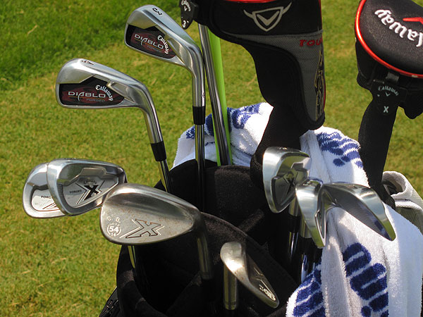uses Callaway X-Forged mid- and short-irons, but uses game-improvement irons, Callaway's Diablo Forged, as his long-irons.