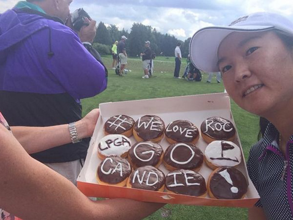 "@candiekung ""I run on Dunkin!"" @LPGA @wegmanslpga #WeLoveRoc #bataviaDD"