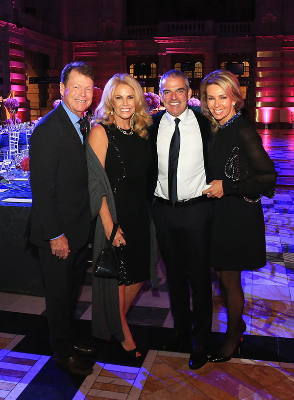 United States team captain Tom Watson and wife Hilary pose with Europe team captain Paul McGinley and wife Allison during the 2014 Ryder Cup Gala Dinner.