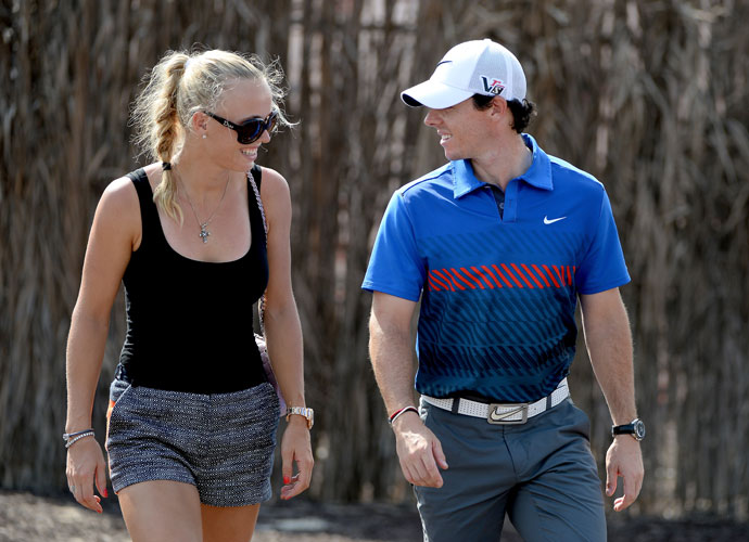 Nov. 14, 2013: Caroline joins Rory for the first round of the DP World Tour Championship in Dubai.