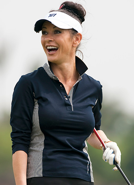 Oscar-winning actress Catherine Zeta-Jones smiles during the pro-am for the Mission Hills Star Trophy on October 28, 2010 in Haikou, China.
