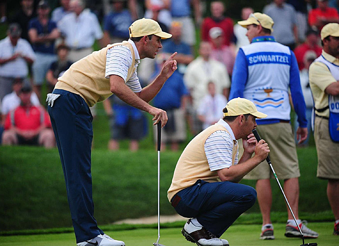 Charl Schwartzel and Louis Oosthuizen lost to Hunter Mahan and Brandt Snedeker.