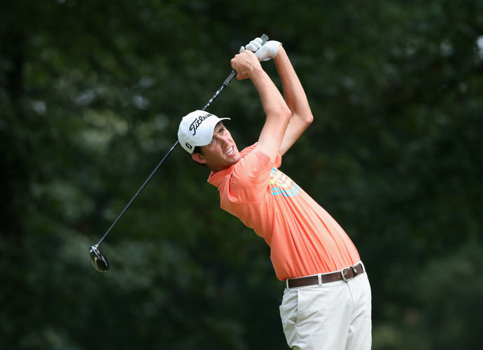 Chesson Hadley hits his tee shot on the fifth hole. Hadley shot 69 and was tied for seventh at -4, eight shots back.