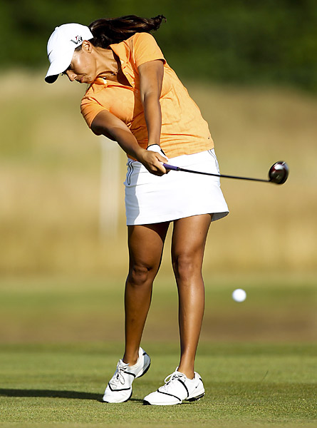 Woods hits her approach on the 14th hole during the ISPS Handa Ladies British Masters at The Buckinghamshire Golf Club on July 26, 2013 in Denham, England.