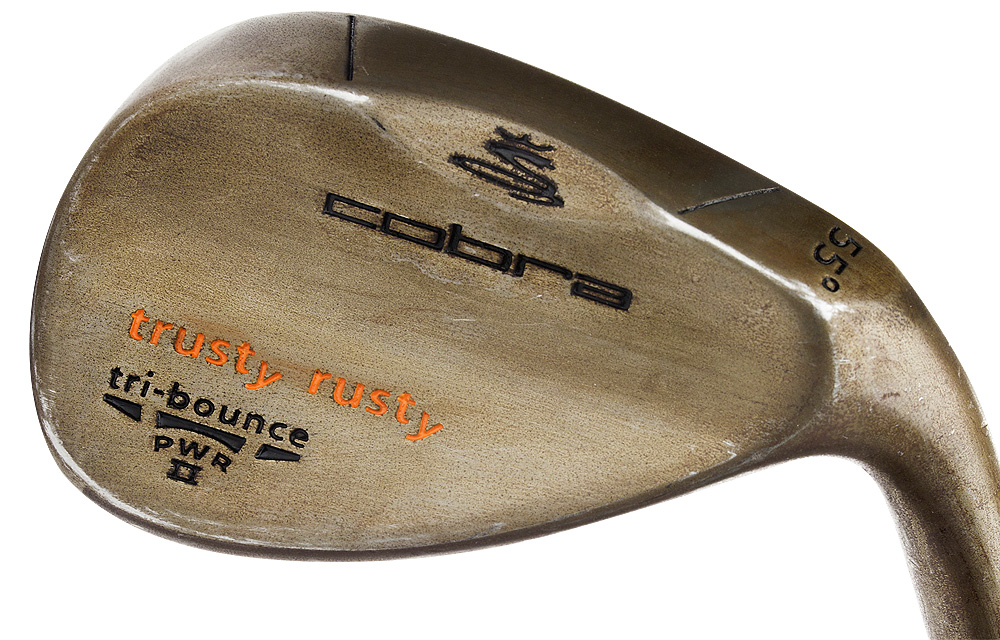 "Cobra Trusty Rusty                     $119; golf.com/cobra                     Trusty Rusty wedges are made of non-chromed 8620 carbon steel, which rusts over time as the finish naturally wears off. An aggressive groove design that's created through a special machining process optimizes spin for maximum shot control, while the ""Tri-bounce"" sole design (higher bounce in the center, less in the heel and toe areas) helps playability. Lamkin 3Gen grips feature a longer, less tapered design for added maneuverability and greater shock absorption. Available in a rust (pictured), black PVD or satin finish. An oversize Big Trusty Rusty wedge (10 percent larger) is available for those who want a bit more forgiveness."