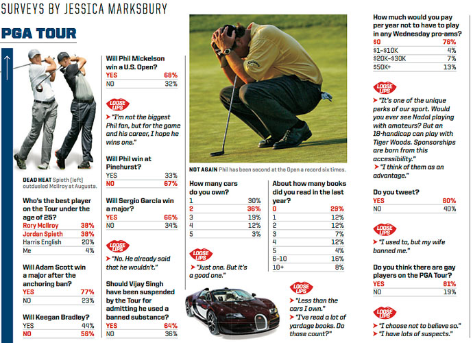 "14.	A Sports Illustrated anonymous poll of Tour players reveals that 64 percent of Tour players feel Singh should have been suspended. Singh's attorney, Peter Ginsberg, has a different take: ""If that's an accurate assessment of how the players feel, I think it's a reflection of the PGA Tour's media and PR machine."""