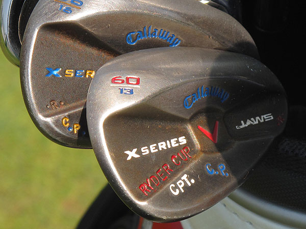 who will captain the United States team in the 2010 Ryder Cup, has very patriotic Callaway wedges.
