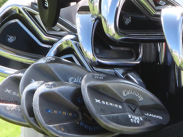 plays TaylorMade's R9 TP irons and some very special Callaway X Series JAWS wedges.