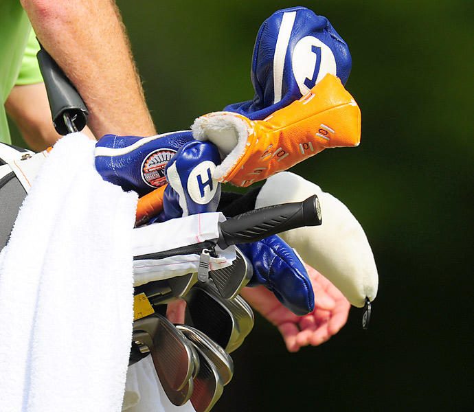 University of Illinois alumnus D.A. Points shows off his Illini pride with blue and orange headcovers.