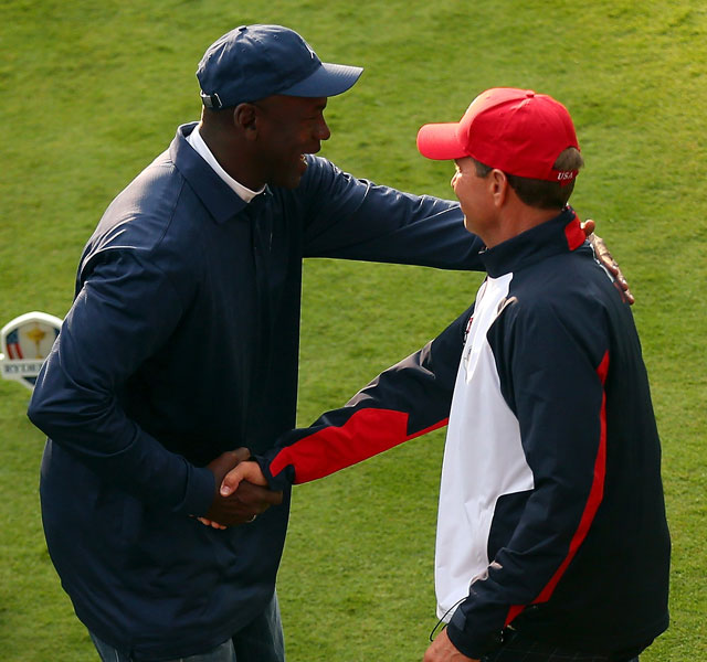 Love with Michael Jordan, who is serving an honorary role in Chicago this week.