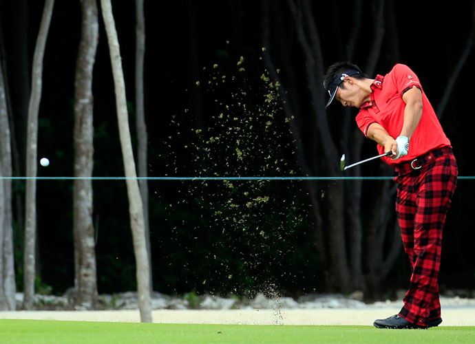 Danny Lee of New Zealand drained seven-straight birdies on the front nine to get out in 29, but three back-nine bogeys dropped him back to T3 at 15 under.