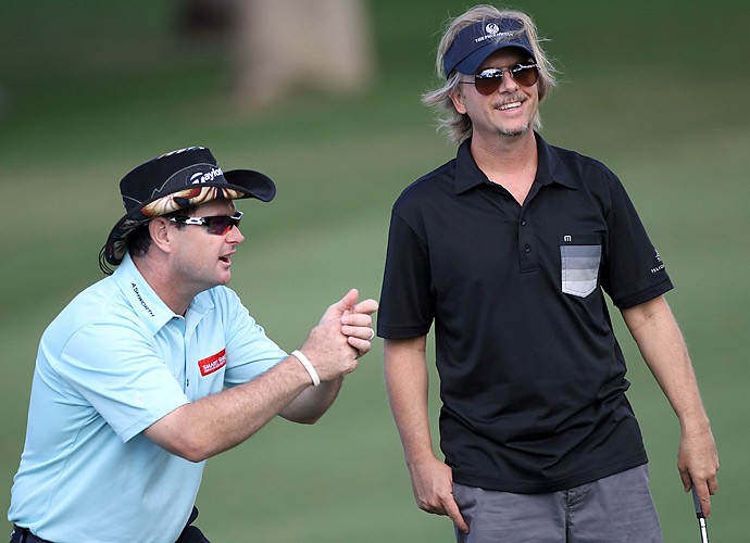 Rory Sabbatini got a smile out of David Spade at the 2012 Sony Open Pro Am.