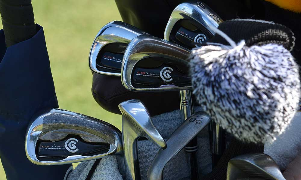 David Toms uses Cleveland CG7 irons and adds lead tape to the back of the short irons.