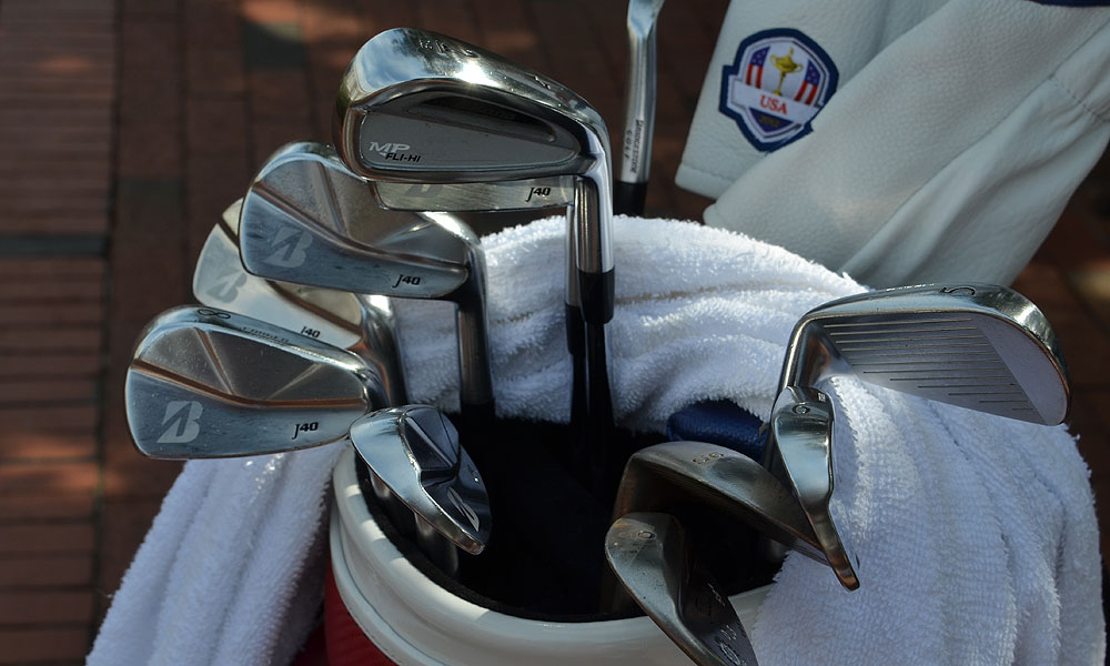 U.S. Ryder Cup caption Davis Love has a set of Bridgestone J40 Cavity Back irons and a Mizuno MP Fli-Hi driving iron.