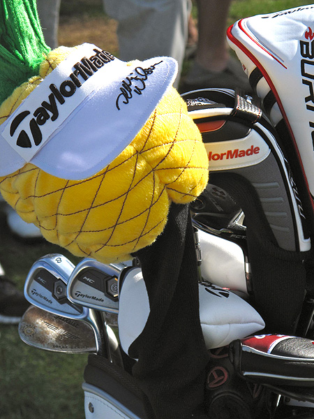 Dean Wilson shows his Hawaiian pride atop his TaylorMade bag.
