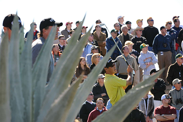 Everyone eyed Dean Wilson's tee shot on the seventh tee Thursday.