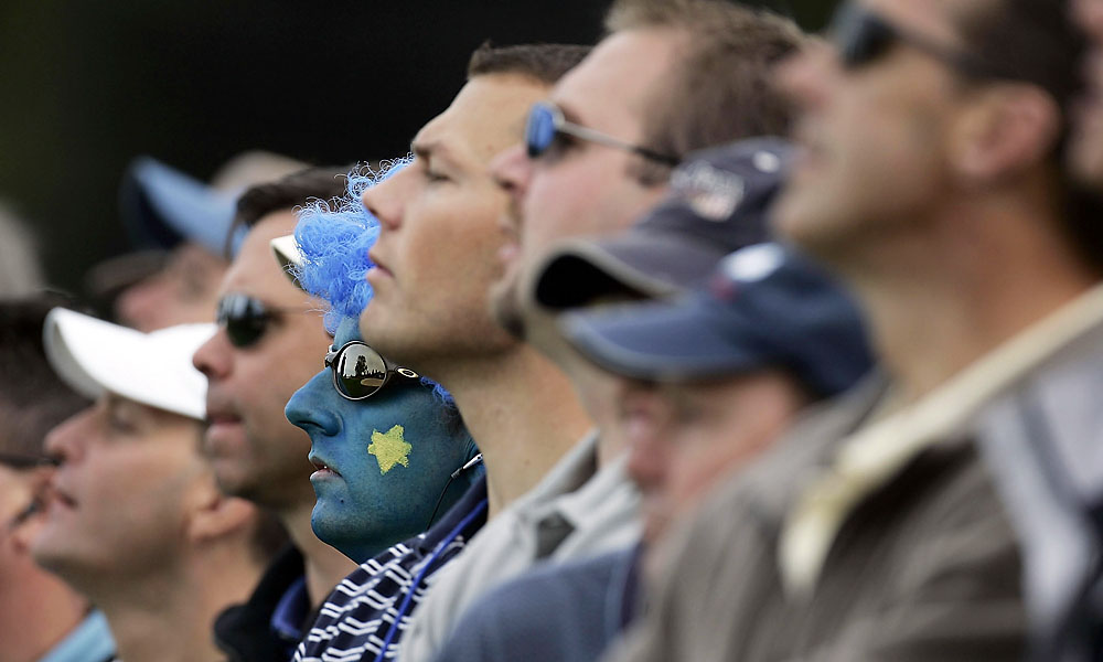 2004                       A European fan wore his pride on his face in Michigan during the 2004 event at Oakland Hills.