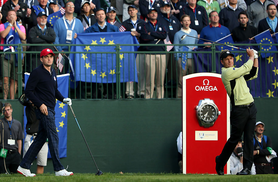 Europe's Donald on the first hole.