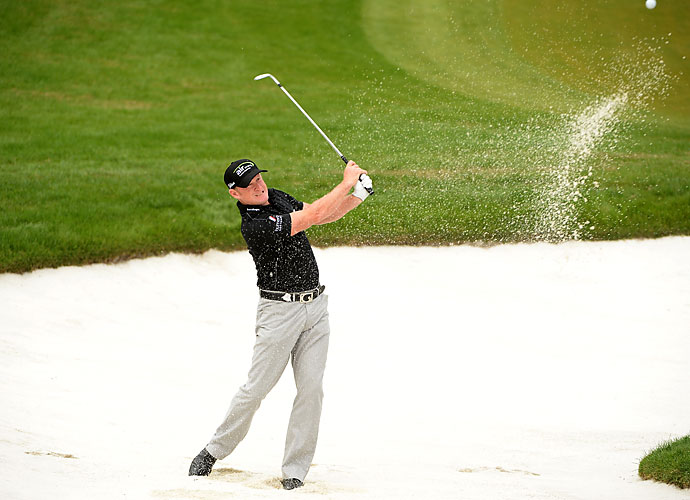 Despite three bogeys, Welshman Jamie Donaldson managed an eagle on 16 to match Fernandez-Castano with a 67.