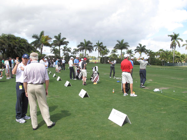 The practice area at the Doral Resort & Spa was a busy place on Wednesday.