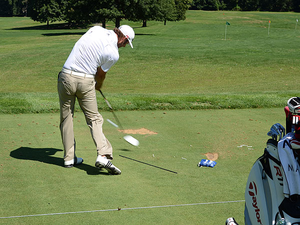 Dustin Johnson used a TaylorMade R11 driver with Fujikura Motore F1 shaft to test the limits of the driving range.