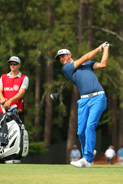 """Dustin Johnson recorded his second straight 69. He'll enter the weekend -2, eight shots back of Martin Kaymer. """"Anything can happen in a U.S. Open,"""" he said. """"This golf course is tough. If you get just a little bit off with your driver and your irons, you're going to have a long day. So I just need to -- I've got a good game plan, I'm going to stick to it. If I keep hitting it like I am then I'm going to keep shooting good scores."""""""